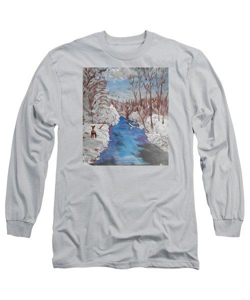Snowy Stream Long Sleeve T-Shirt by Christine Lathrop