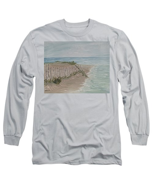Long Sleeve T-Shirt featuring the painting Soft Sea by Barbara McDevitt