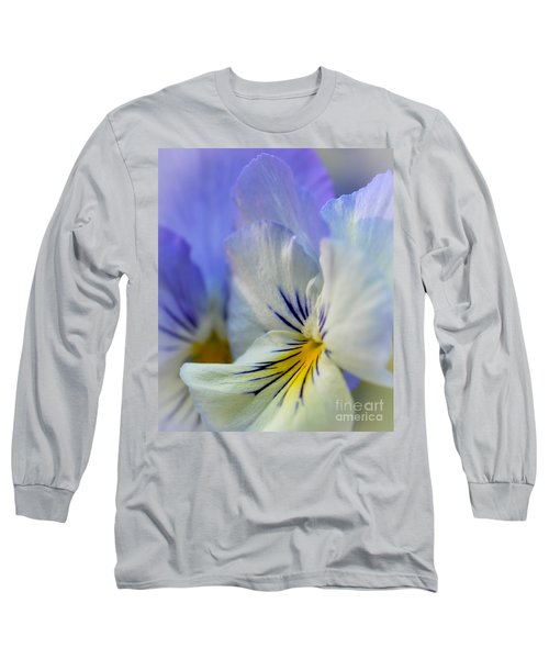 Soft White Pansy Long Sleeve T-Shirt by Amy Porter