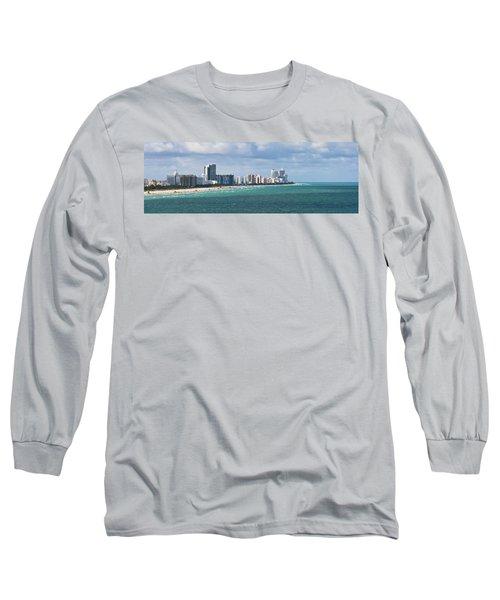 South Beach On A Summer Day Long Sleeve T-Shirt
