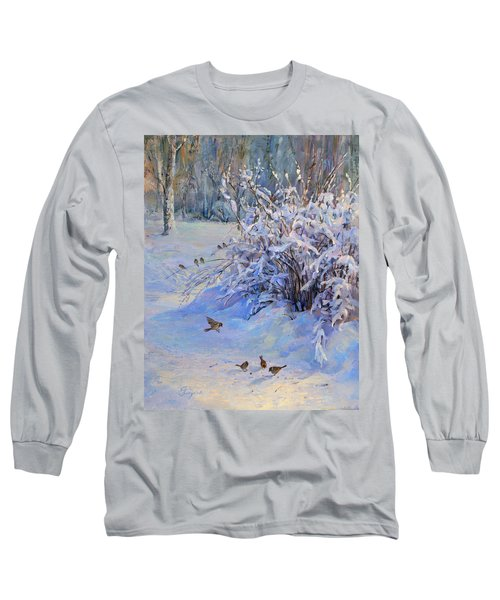 Sparrow On Snow Long Sleeve T-Shirt