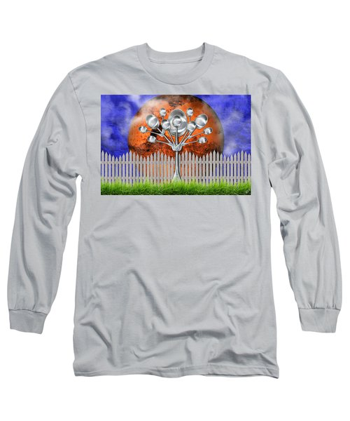 Long Sleeve T-Shirt featuring the mixed media Spoon Tree by Ally  White