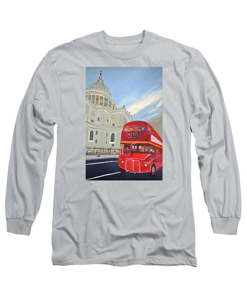 St. Paul Cathedral And London Bus Long Sleeve T-Shirt by Magdalena Frohnsdorff