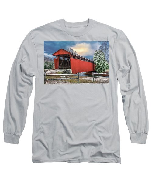Staats Mill Covered Bridge Long Sleeve T-Shirt by Mary Almond