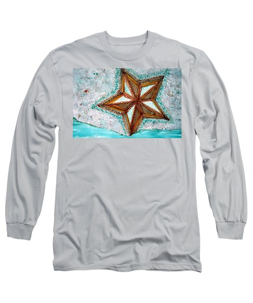 Starfish On The Beach Alcohol Inks Long Sleeve T-Shirt by Danielle  Parent