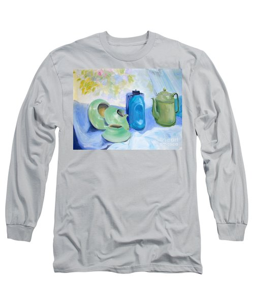 Long Sleeve T-Shirt featuring the painting Still Life In Blue And Green Pottery by Greta Corens