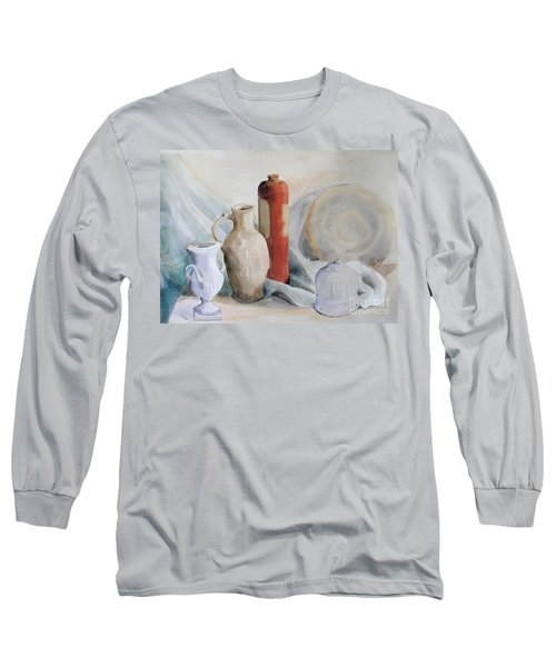 Watercolor Still Life With Pottery And Stone Long Sleeve T-Shirt