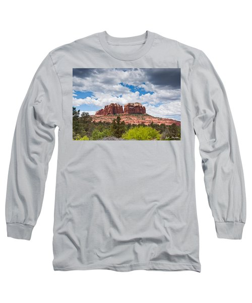 Storm Clouds Over Cathedral Rocks Long Sleeve T-Shirt by Jeff Goulden