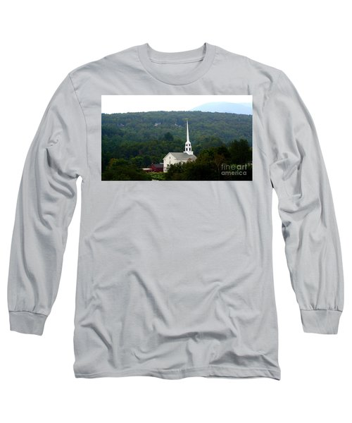 Long Sleeve T-Shirt featuring the photograph Stowe Community Church by Patti Whitten