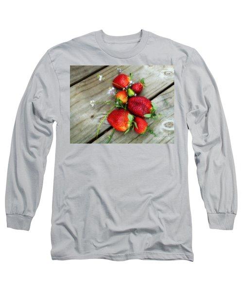 Strawberrries Long Sleeve T-Shirt by Valerie Reeves
