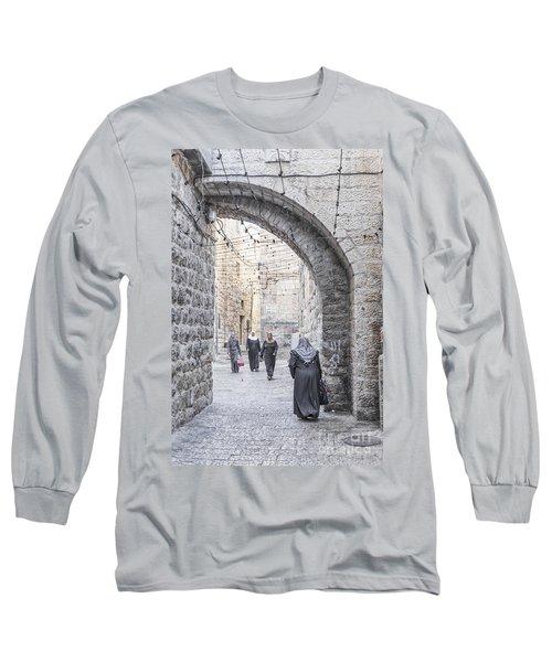 Street In Jerusalem Old Town Israel Long Sleeve T-Shirt
