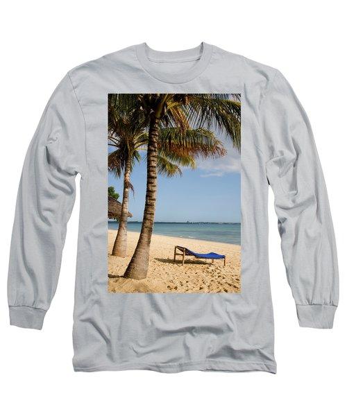 Sun Lounger, Beach And Palm Trees Long Sleeve T-Shirt
