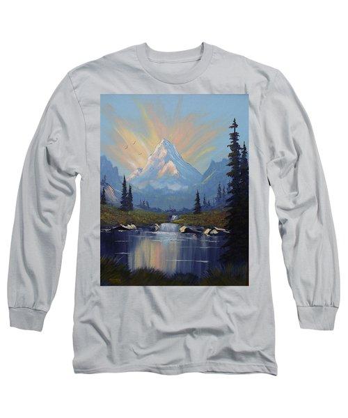 Long Sleeve T-Shirt featuring the painting Sunburst Landscape by Richard Faulkner