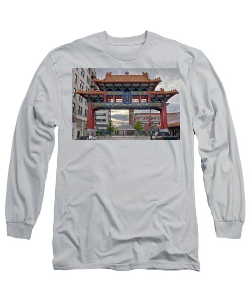 Long Sleeve T-Shirt featuring the photograph Sunset At Chinatown Gate In Seattle Washington by JPLDesigns