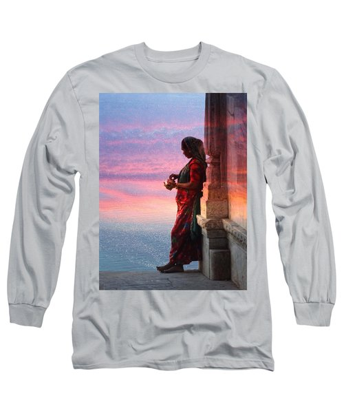Sunset Lake Colorful Woman Rajasthani Udaipur India Long Sleeve T-Shirt