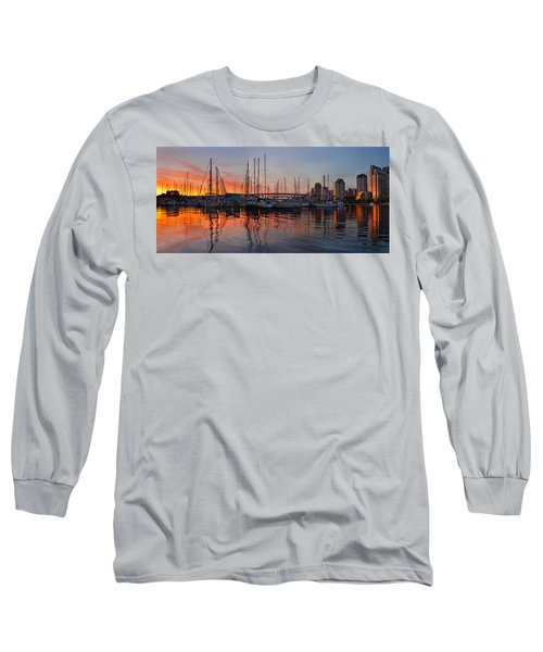 Long Sleeve T-Shirt featuring the photograph Sunset View From Charleson Park In Vancouver Bc by JPLDesigns