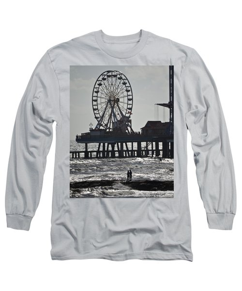 Surfer And Lovers At Pleasure Pier Long Sleeve T-Shirt
