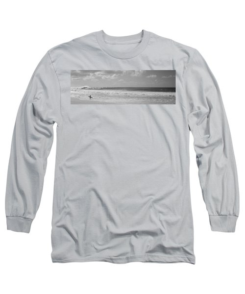 Surfer Standing On The Beach, North Long Sleeve T-Shirt