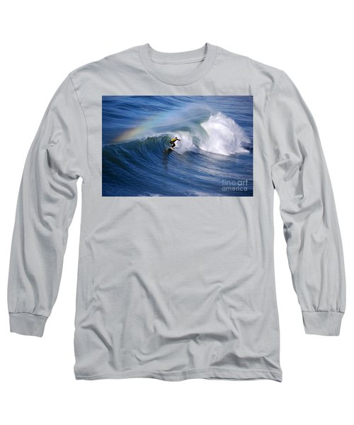 Surfing Under A Rainbow Long Sleeve T-Shirt by Catherine Sherman