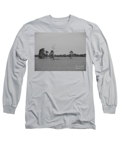 Long Sleeve T-Shirt featuring the photograph Swamp Cypress Trees Black And White by Joseph Baril