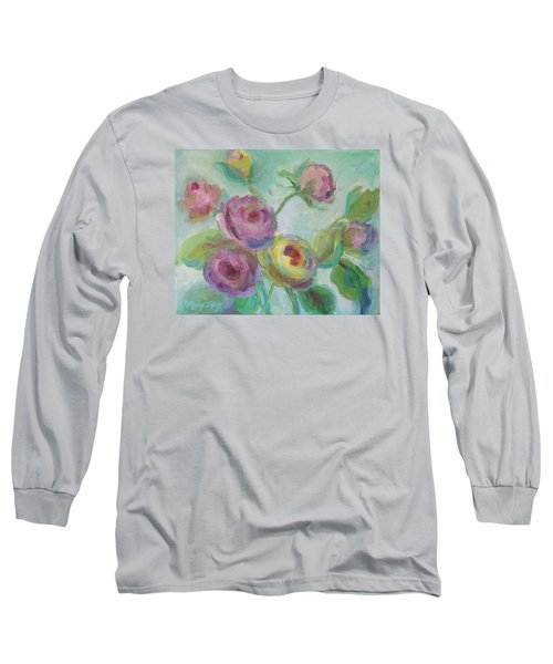 Long Sleeve T-Shirt featuring the painting Sweetness Floral Painting by Mary Wolf