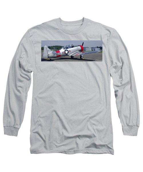 Long Sleeve T-Shirt featuring the photograph T 6 Navy Trainer by James C Thomas