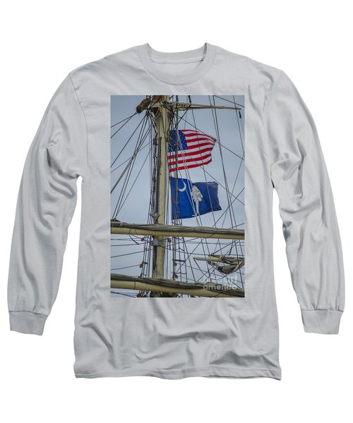 Long Sleeve T-Shirt featuring the photograph Tall Ships Flags by Dale Powell