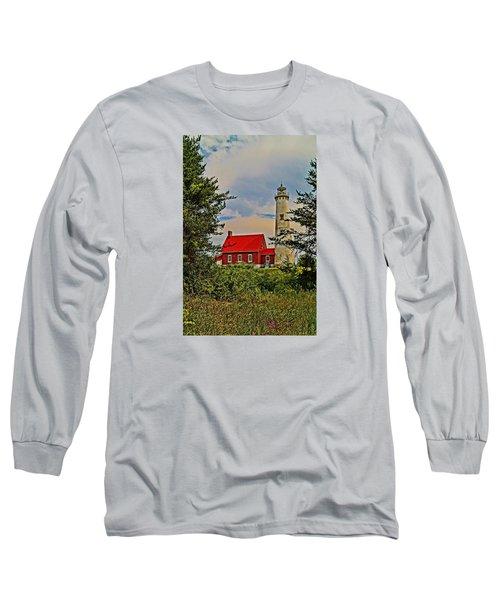 Tawas Point Light Retro Mode Long Sleeve T-Shirt by Daniel Thompson