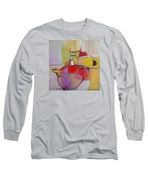 Long Sleeve T-Shirt featuring the painting Tea For Two by Michelle Abrams