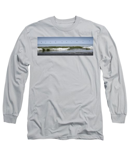 Long Sleeve T-Shirt featuring the photograph Ten Pelicans by Steven Sparks