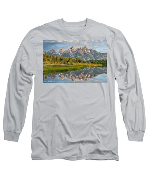 Teton Range Reflected In The Snake River Long Sleeve T-Shirt by Jeff Goulden