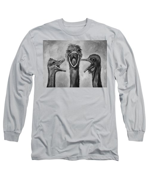 The 3 Tenors Bw Long Sleeve T-Shirt by Leah Saulnier The Painting Maniac