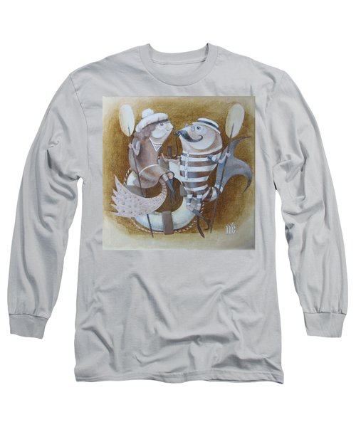 Long Sleeve T-Shirt featuring the painting The Beach by Marina Gnetetsky
