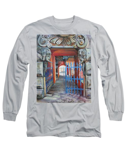 Long Sleeve T-Shirt featuring the painting The Blue Gate by Marina Gnetetsky