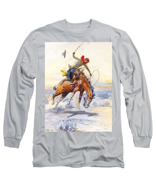The Bucker By Charles M Russell Long Sleeve T-Shirt by Pg Reproductions