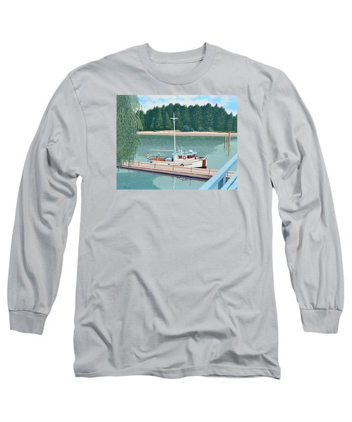 Long Sleeve T-Shirt featuring the painting The Converted Fishing Trawler Gulvik by Gary Giacomelli