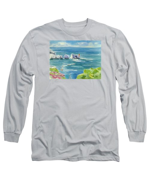 The Needles Isle Of Wight Long Sleeve T-Shirt by Geeta Biswas
