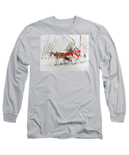 Long Sleeve T-Shirt featuring the painting The Quiet Ride by Beth Saffer