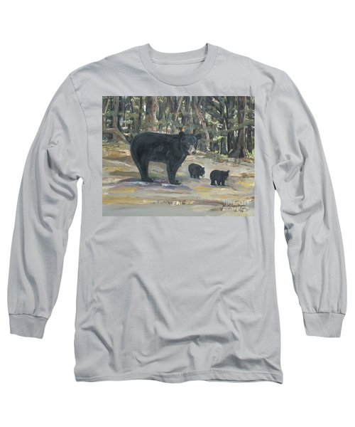 Long Sleeve T-Shirt featuring the painting Cubs - Bears - Goldilocks And The Three Bears by Jan Dappen