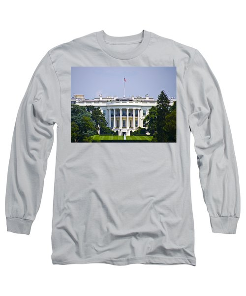 The Whitehouse - Washington Dc Long Sleeve T-Shirt by Bill Cannon