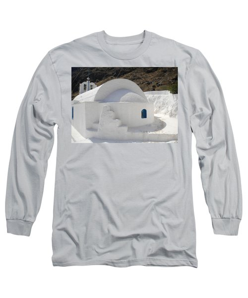 Long Sleeve T-Shirt featuring the photograph Thirasia Church Santorini Greece by Colette V Hera  Guggenheim