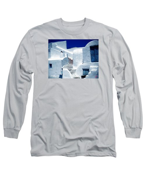 Thirasia Island Ancient House Near Santorini Greece Long Sleeve T-Shirt