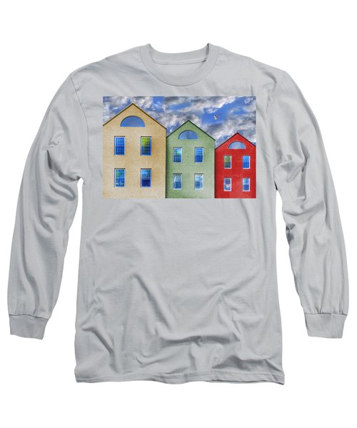 Three Buildings And A Bird Long Sleeve T-Shirt by Paul Wear