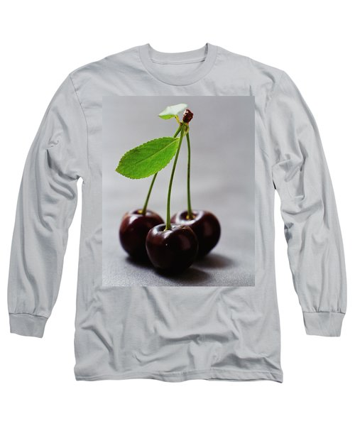 Three Cherries On A Stem Long Sleeve T-Shirt