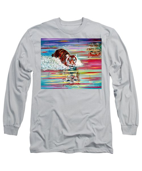 Long Sleeve T-Shirt featuring the painting Tigers Crossing by Phyllis Kaltenbach