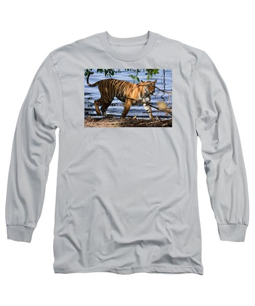 Tigress Along The Banks Long Sleeve T-Shirt by Fotosas Photography