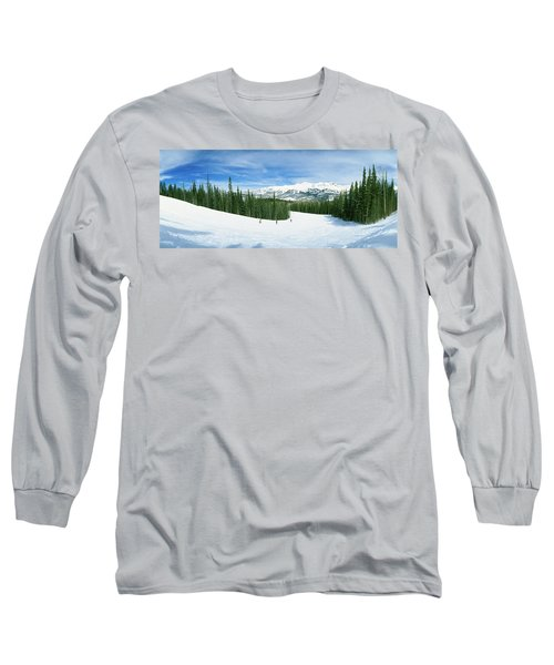 Tourists Skiing On A Snow Covered Long Sleeve T-Shirt
