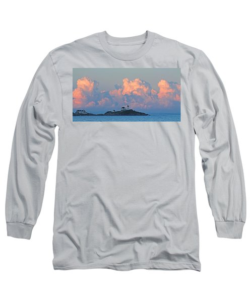 Towering Clouds Over Nubble Lighthouse York Maine Long Sleeve T-Shirt
