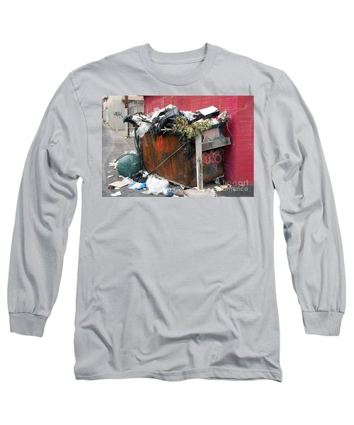 Long Sleeve T-Shirt featuring the photograph Trash Dumpster In Slums by Gunter Nezhoda