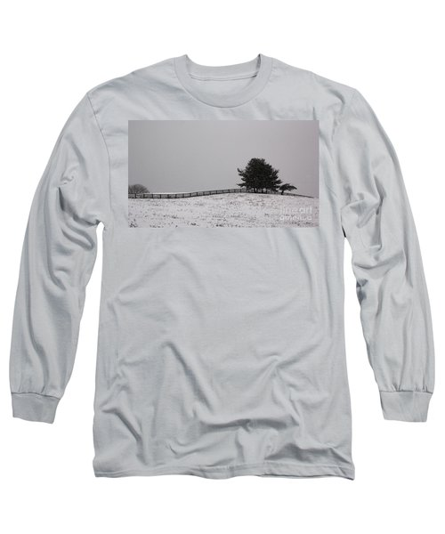 Tree And Fence In Snow Storm Long Sleeve T-Shirt